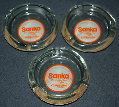 Vintage Advertising Cigarette Ashtray Sanka Coffee Glass  Lot of 3