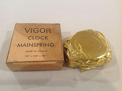 "Vintage NOS Vigor Mainspring for Wall Clocks  3/4""x 0.18""x 96"" France"