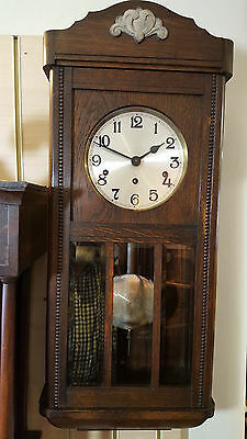 Vintage Oak German Westminster Chiming Wall Clock with Bevelled Glass