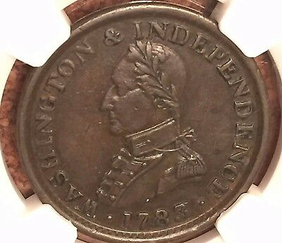 1783 Large Bust Washington & Independence NGC AU53  Colonial Medal-Token