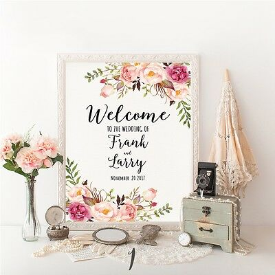 Personalised Large Wedding Welcome Sign Order of the Day Canvas Floral Marble