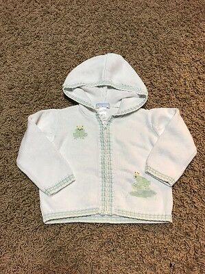 Janie And Jack Baby Boy Frog Prince Hooded Sweater Size 12-18 M