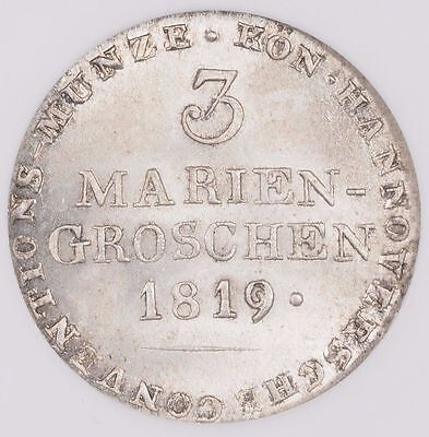 1819 Germany Hannover 3 Mariengroschen NGC MS 65