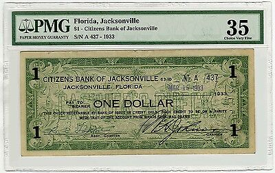 Jacksonville Fl $1 1933 Issued Not Cancelled Choice Vf 35