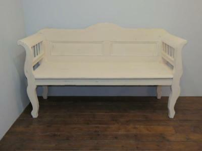 Antique Painted Pine Farmhouse Settle / Country Bench / Pew Seat/ 1880 Rustic