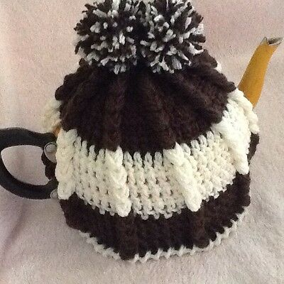 Hand Crocheted Tea Cosy Brown And Cream Colour