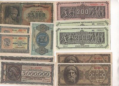 G12 Greece 5 200 2000 Million Drachmai 1940-44 P-123 126 128 131 133 314 323