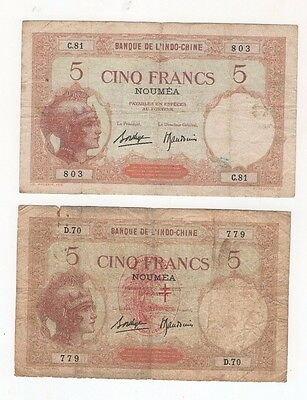 c1 New Caledonia 5 Francs 1926 P-36b lot of 2 Banknotes Oceania Money Currency