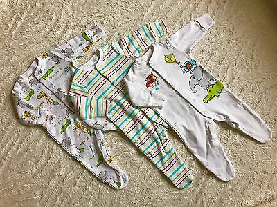 baby boys NEXT bundle sleepsuits  3 pack animals babygrow up to 3 month newborn