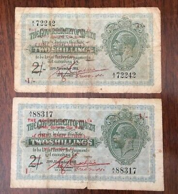 M33 Malta 1 Shilling on 2 Shillings 1918 Banknote lot /2 Antique Paper Money P-9