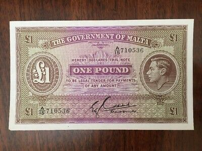M34 Malta 1 Pound 1940 Banknote Antique Paper Money P-20b King George VI Govt