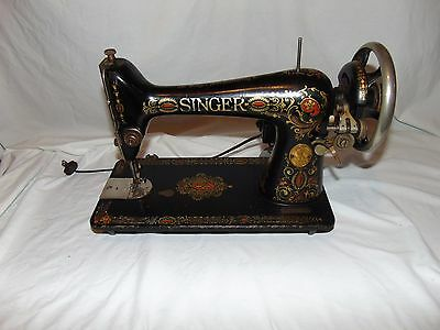 vintage singer Cast Iron Sewing machine G11 black with gold etching works