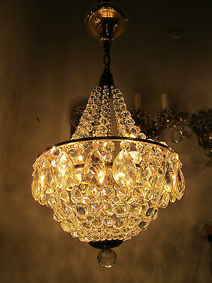 Antique Vnt French Basket Style Czech Crystal Chandelier Lamp 1940s 13in dmter--