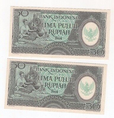 i8 Indonesia 50 Rupiah 1964 P-96 Consecutive Pair Banknotes Currency Paper Money