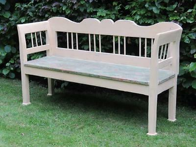 Antique Painted Pine Farmhouse Settle / Country Bench / Pew Seat/ 1880 Rural
