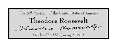 President Theodore Roosevelt Custom Laser Engraved 2x6 inch Plaque FREE SHIP