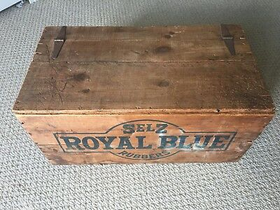 Selz Royal Blue Rubbers Shoe Shipping Crate Vintage Chicago J Petersberger Dixon