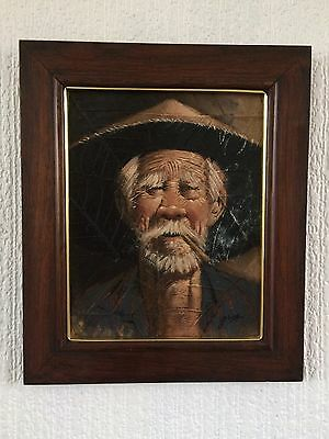 Asian Man Oil Painting on Tobacco Leaves