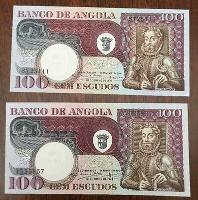 A51 Angola 100 Escudos 1973 P-106 Banknotes lot of 2 Paper Money Crisp Currency