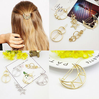 Fashion Wedding Boho Jewellery Hollow Geometric Metal Hair Clips Clamps Hairpins