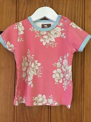 Baby Joules Lovely Pink Floral Pattern Top Age 12-18 Months 100% Cotton