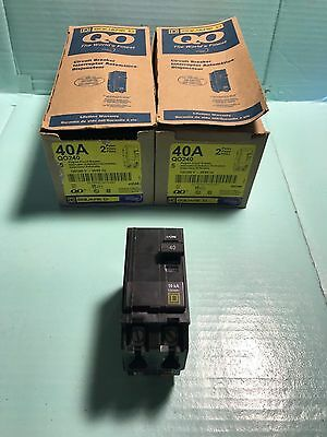 New Square D Qo240 40A Plug On Circuit Breaker Double 2 Pole 120 240 Vac 40 Amp