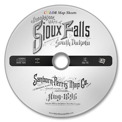 Sioux Falls. South Dakota 21 Color Sanborn Map Sheets on New CD Year 1896