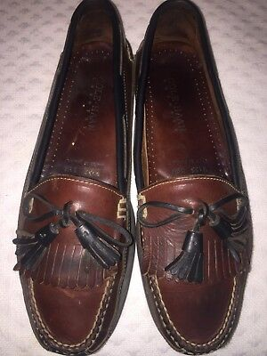 Cole Haan Men Black & Brown Leather Country Loafers Size 13 Boat Shoe w/ Skirt
