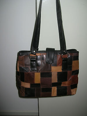 Black, Tan & Brown Leather Patchwork Handbag. Long Straps