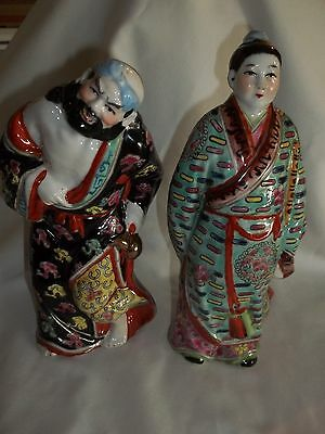 Antique Chinese Famille Porcelain Man/Woman Couple Figurines