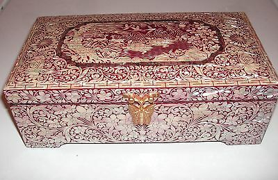 Korean MOP Mother of Pearl Red Lacquer Jewelry Box - Butterflies/Turtles/Cranes