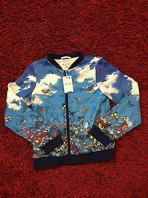NWT Girls Pumpkin Patch Aruba Blue Printed Bomber Jacket Size 11 Retro Blossom