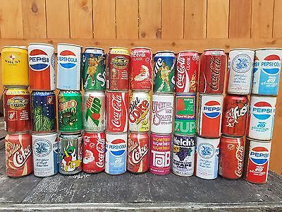 old soda cans Pepsi, coke, 7up, sprite...