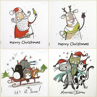 4x Paper Napkins for Decoupage Decopatch Craft Happy Christmas Mix