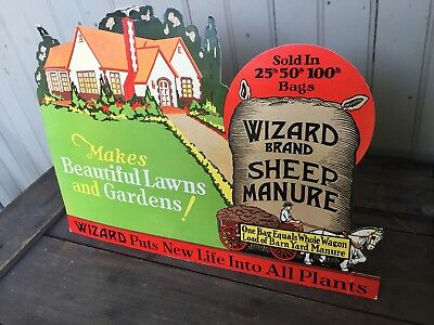 Antique Wizard Brand Sheep Manure Easel Back Store Display 16X11.5 Exc