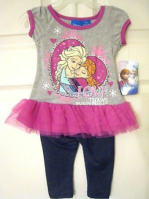 NWT Girl's DISNEY FROZEN Outfit Shirt & Pants Set  Short Sleeve Size 24 months