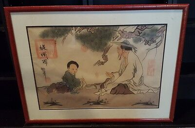 Beautiful, Framed Asian, Chinese, Japanese Art, Signed, Red Stamp, See photos!