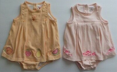 Lot of 2 CARTER'S Girl ROMPER DRESS One Piece 12 Months Pink Orange White Check