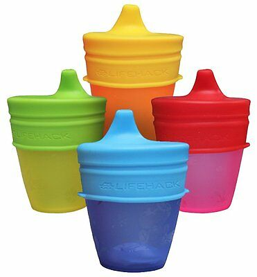 Sippy Cup Lids By MrLifeHack (4 Pack) Makes Any Cup Or Bottle Spill Proof 100%