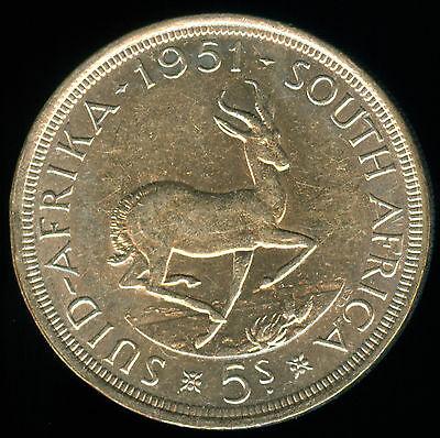 High Grade 1951 South Africa Silver 5 Shillings