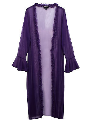 Womens PLUS size negligee purple sheer full length long sleeve lingerie