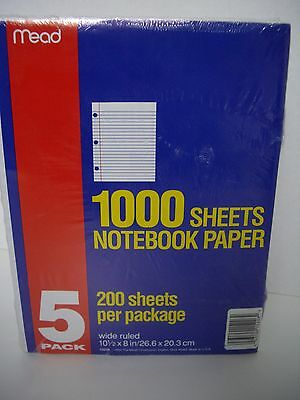 Mead Filler Paper, 200 Sheets, Wide Ruled Notebook Paper, 3 Ring Binder Lot of 5