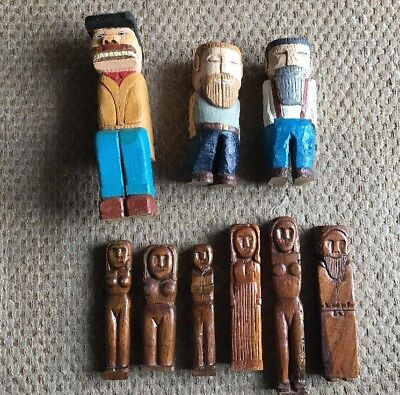 Vintage Lot Folk Art Carved Figures Theodore Roosevelt
