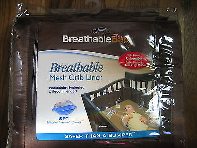 BreathableBaby Baby Mesh Crib Liner Brown Washable One Size Fits All New