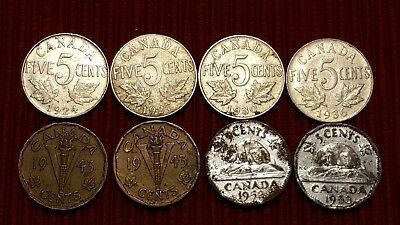 Canadian Canada Nickel 5 cent lot of 8 - 1924 1927 1930 1936 1943 1943 1952 1953