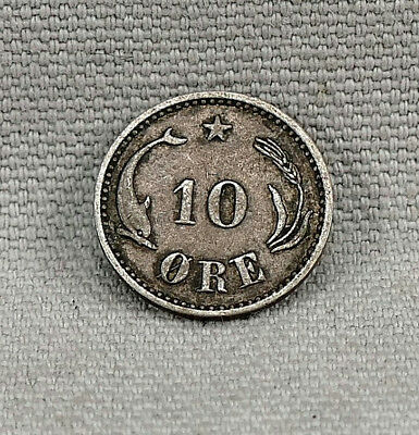 1905 Denmark 10 Ore Silver Coin!  No Reserve! Better Date!