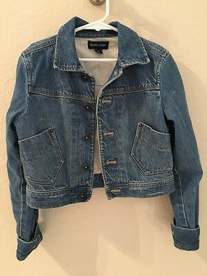 RALPH LAUREN GIRLS DENIM JEAN Button Front JACKET SIZE Medium M11