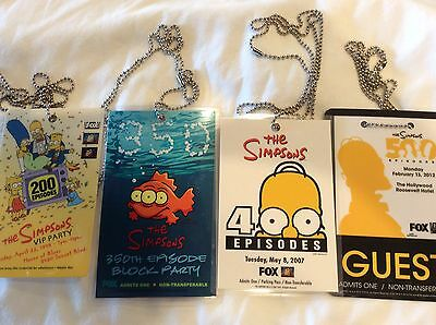 The Simpsons 200, 350, 400 And 500 Episode Party Lanyards VERY RARE