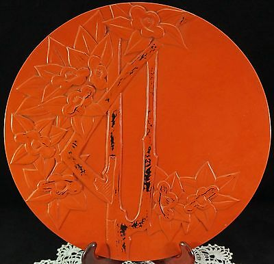 Large Japanese Cinnabar Lacquer ware Charger or Plate Signed Bamboo & Flowers
