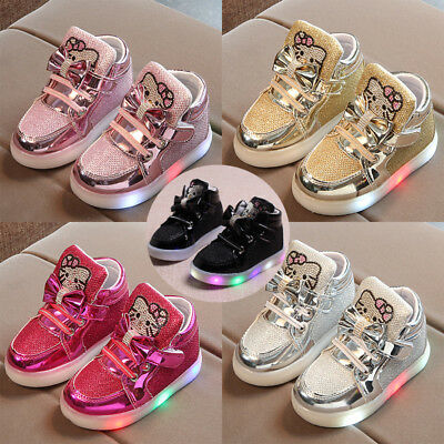 Kids Boys Girls LED Shoes Light Up Luminous Trainers Sports Sneakers Casual